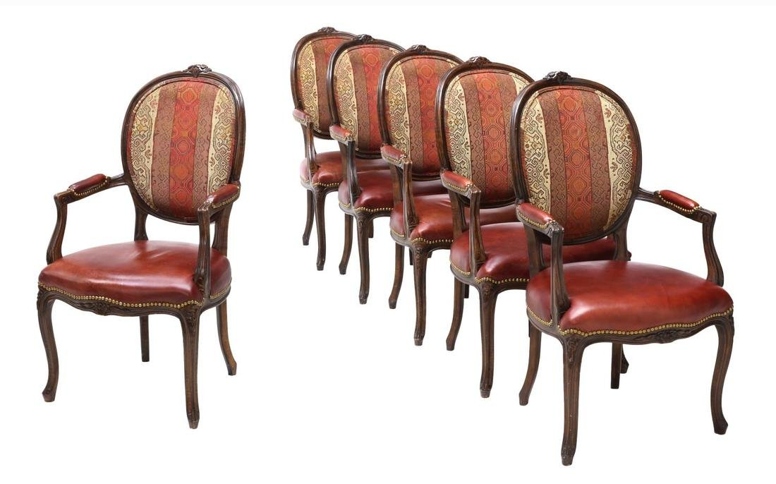 (6) LOUIS XV STYLE LEATHER SEAT ARM CHAIRS