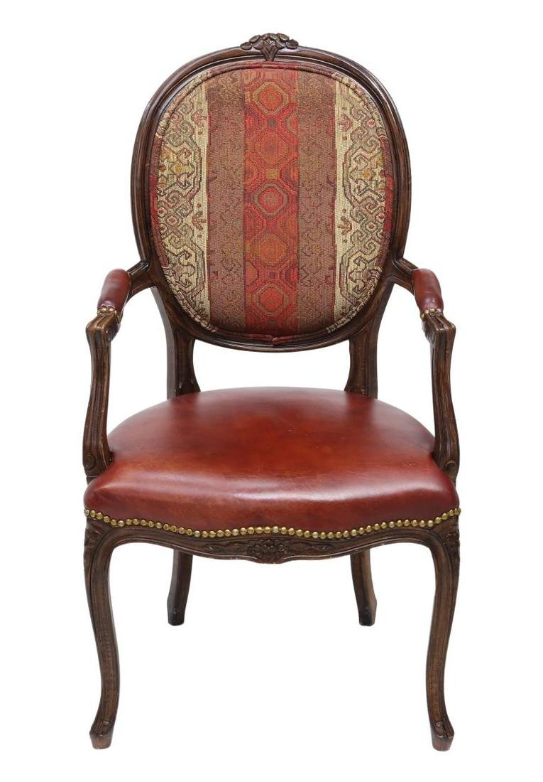 (6) LOUIS XV STYLE LEATHER SEAT ARM CHAIRS - 3