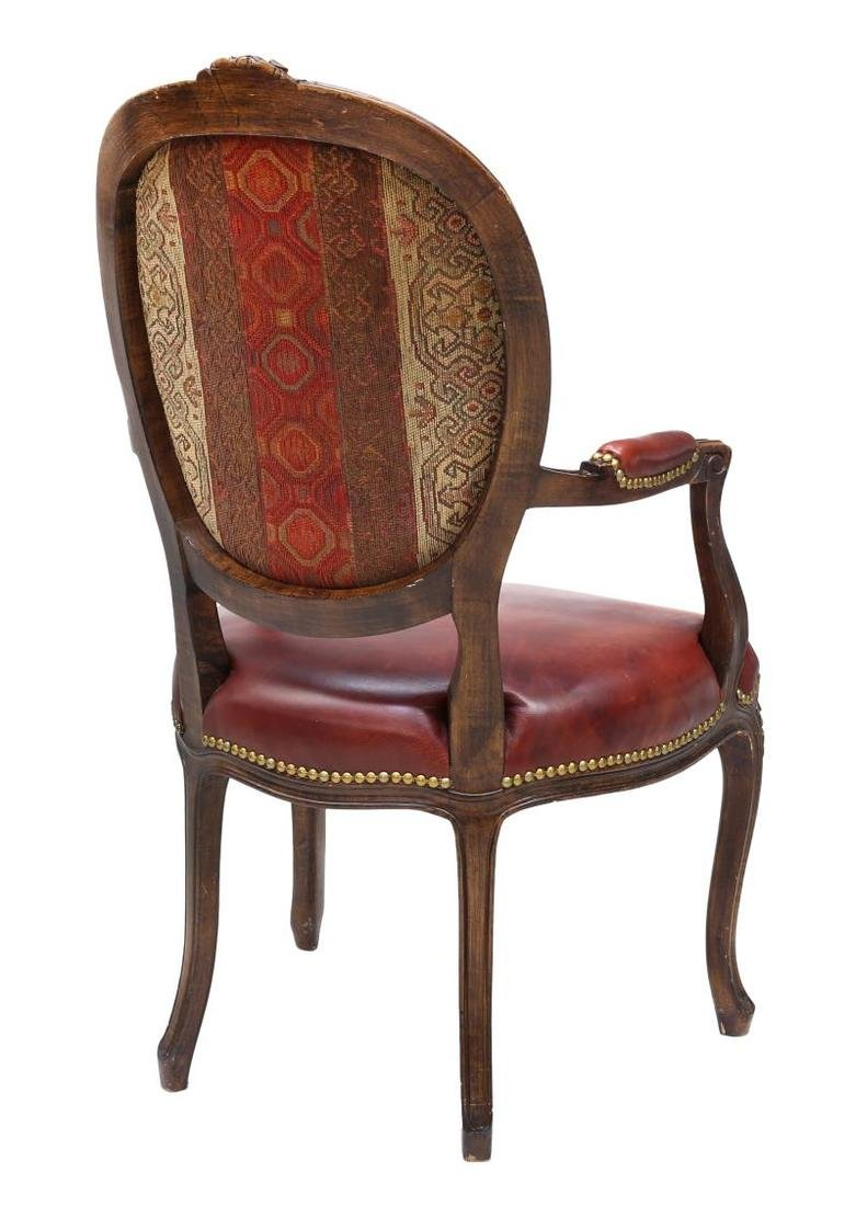 (6) LOUIS XV STYLE LEATHER SEAT ARM CHAIRS - 5