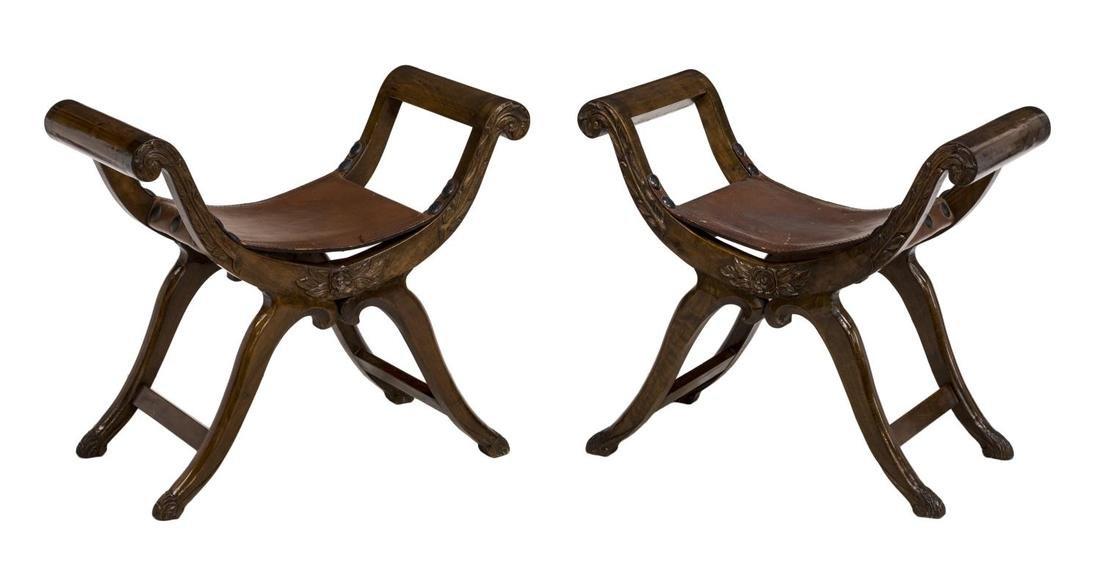 (2) SPANISH LEATHER SEAT CURULE STOOLS