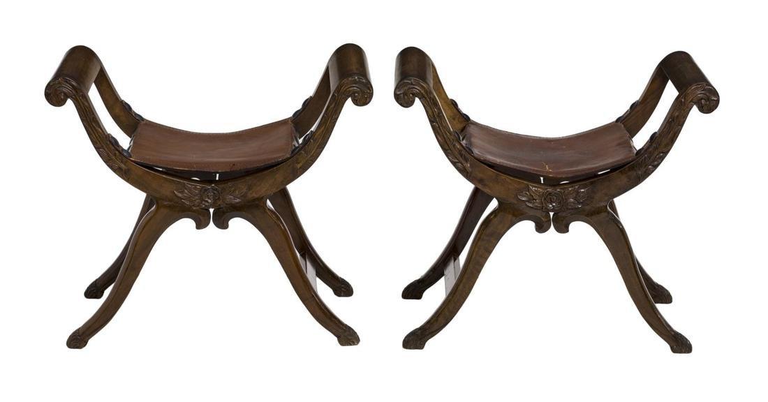 (2) SPANISH LEATHER SEAT CURULE STOOLS - 2