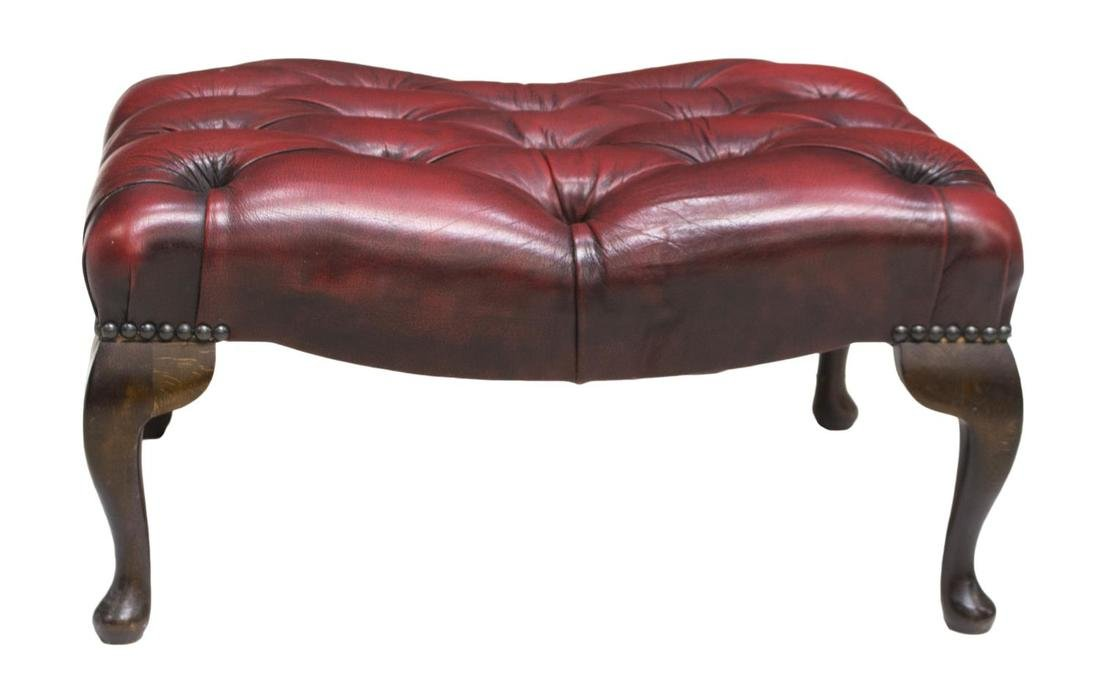 CHESTERFIELD BUTTONED LEATHER FOOT STOOL - 2