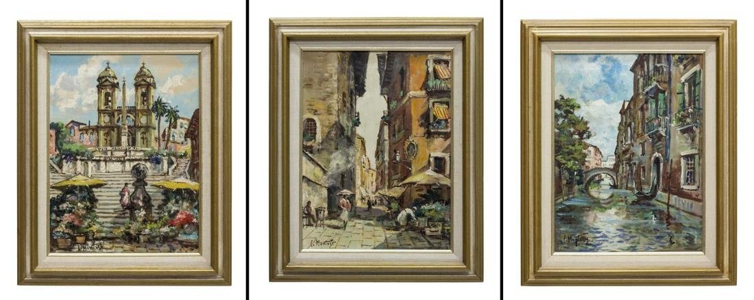 (3) FRAMED OIL PAINTINGS, CONTINENTAL CITYSCAPES