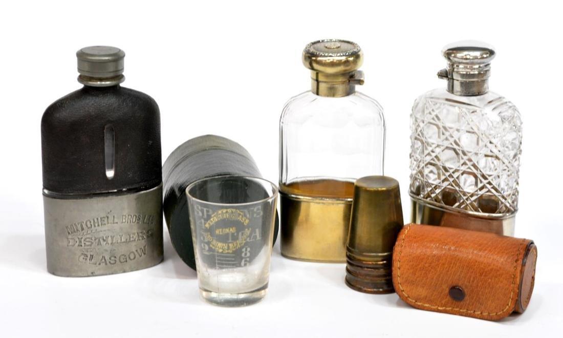 (5) TRAVELING DRINKWARE, STERLING FLASKS, GLASSES