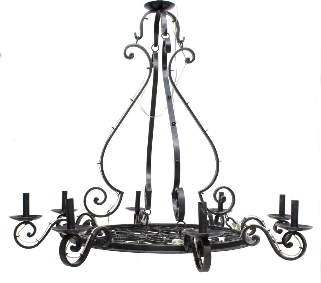 FRENCH COLONIAL WROUGHT IRON 8-LIGHT CHANDELIER