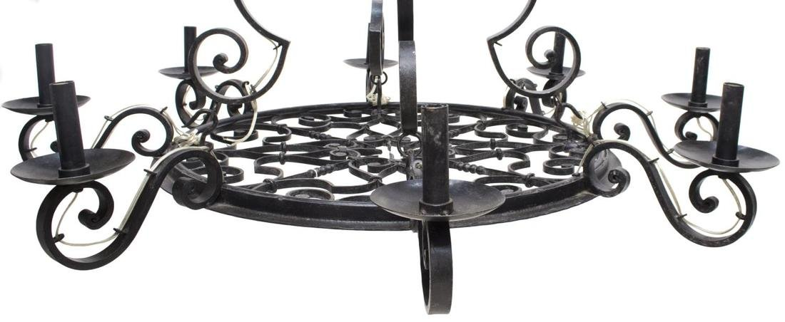 FRENCH COLONIAL WROUGHT IRON 8-LIGHT CHANDELIER - 2