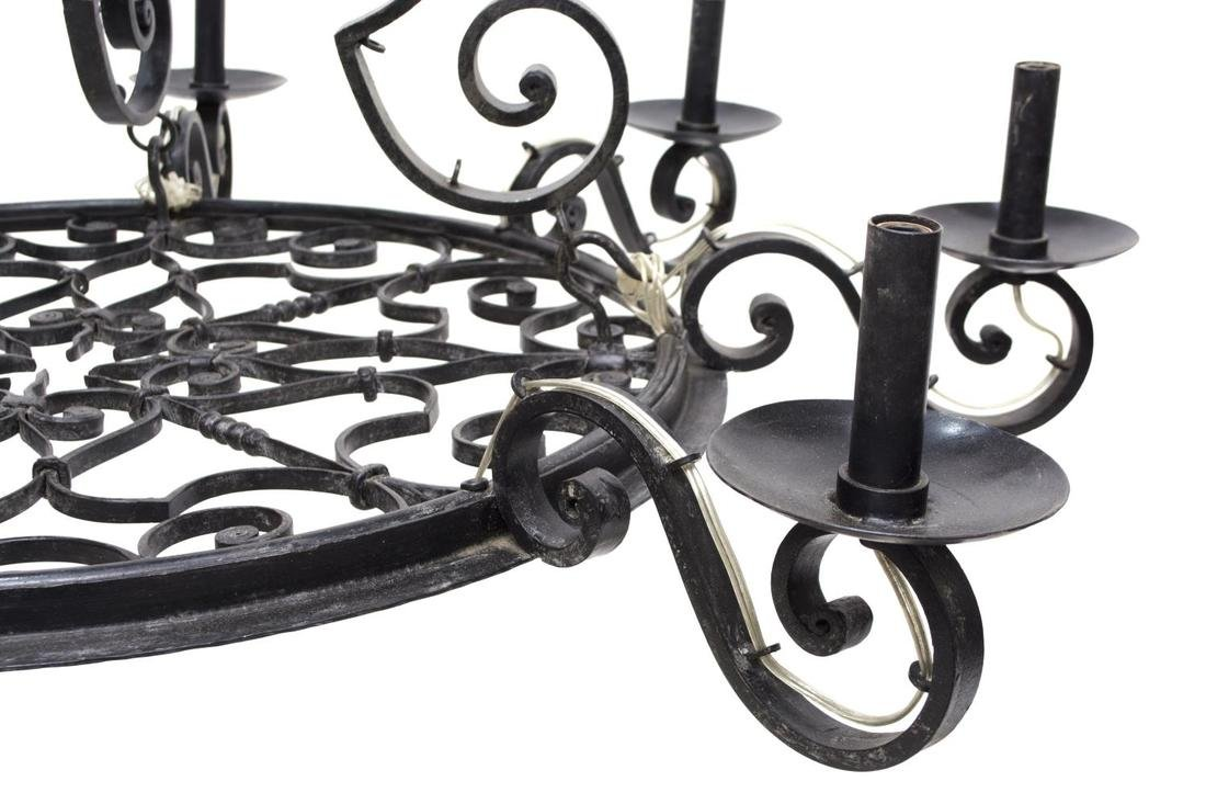FRENCH COLONIAL WROUGHT IRON 8-LIGHT CHANDELIER - 3