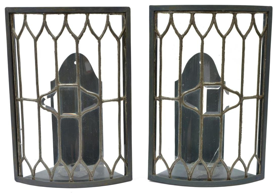 (2) LARGE COLORLESS LEADED GLASS CANDLE SCONCES
