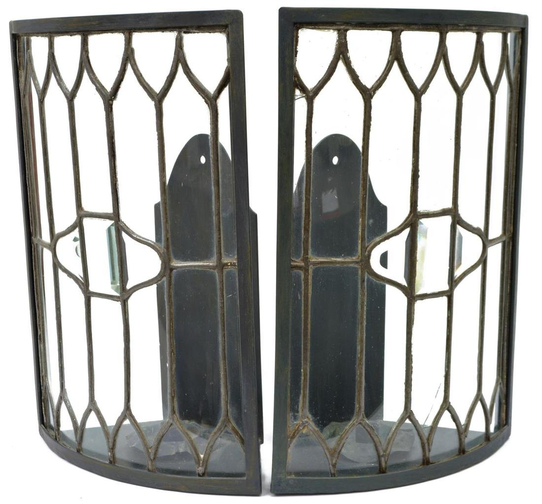 (2) LARGE COLORLESS LEADED GLASS CANDLE SCONCES - 2