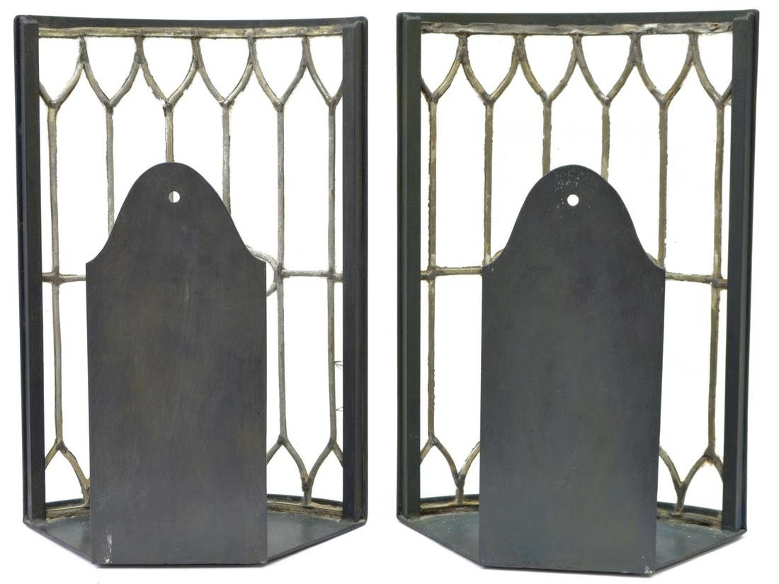 (2) LARGE COLORLESS LEADED GLASS CANDLE SCONCES - 3