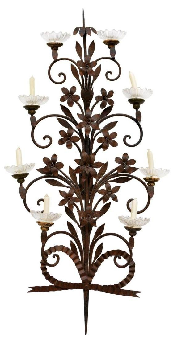 IRON FLORAL SCROLLED FOLIATE 9-LIGHT CANDLE SCONCE