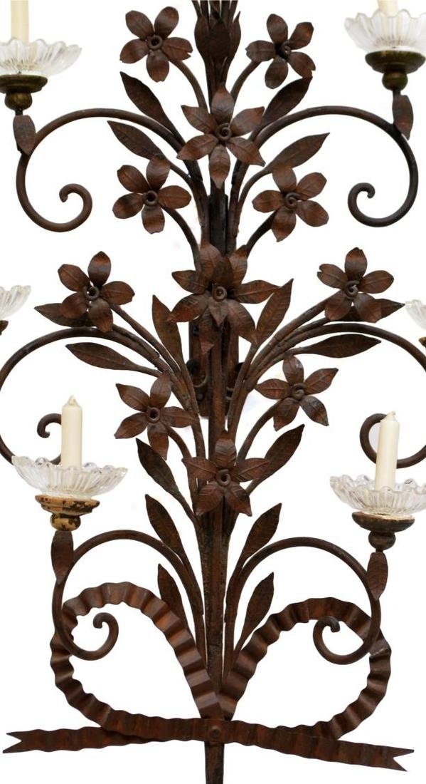 IRON FLORAL SCROLLED FOLIATE 9-LIGHT CANDLE SCONCE - 2