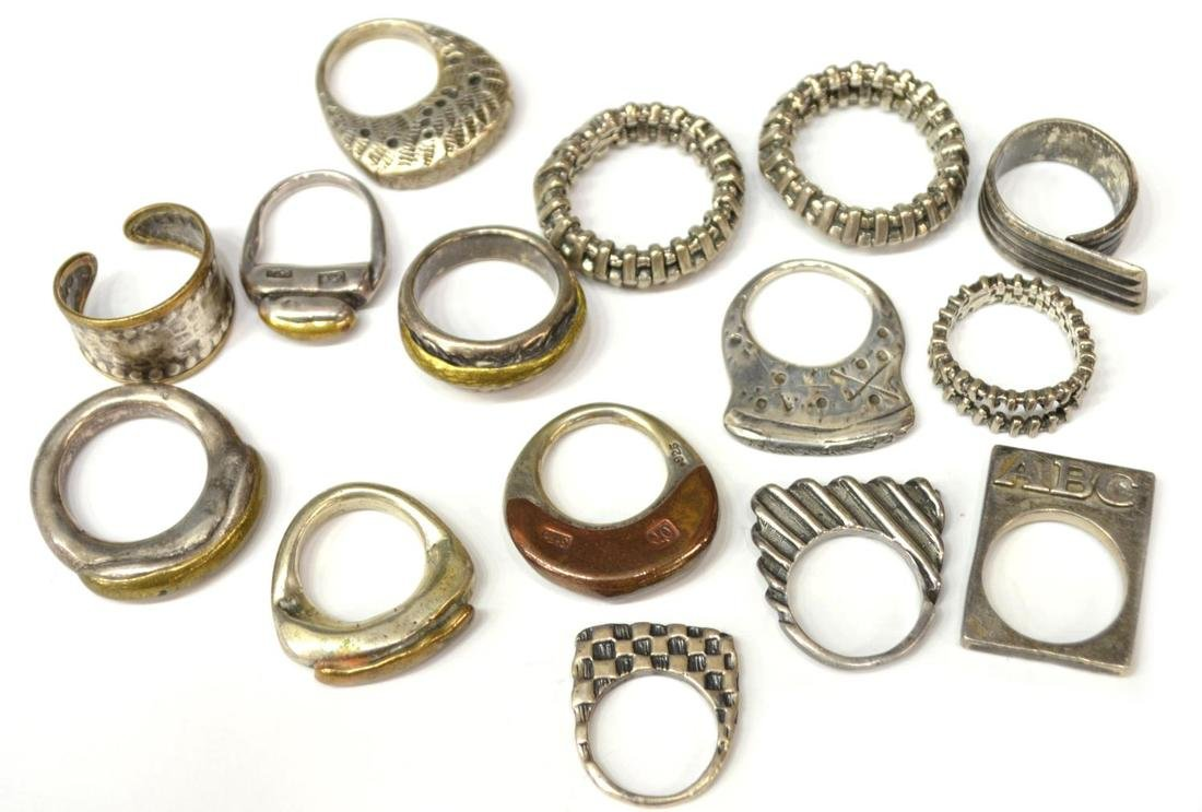 (15) ARTISAN STERLING, BRASS & COPPER RINGS - 2