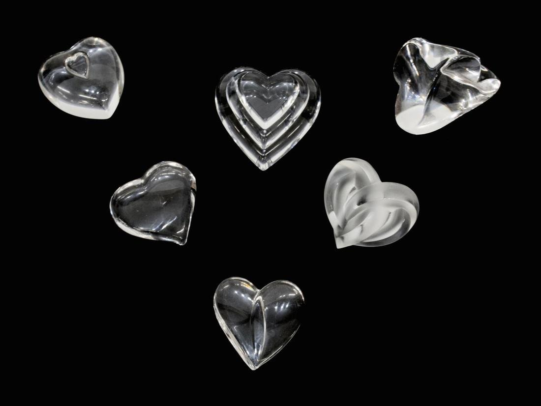 (6) STEUBEN & LALIQUE ART CRYSTAL HEART PAPERWEIGHTS