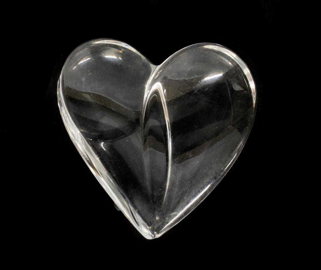 (6) STEUBEN & LALIQUE ART CRYSTAL HEART PAPERWEIGHTS - 2