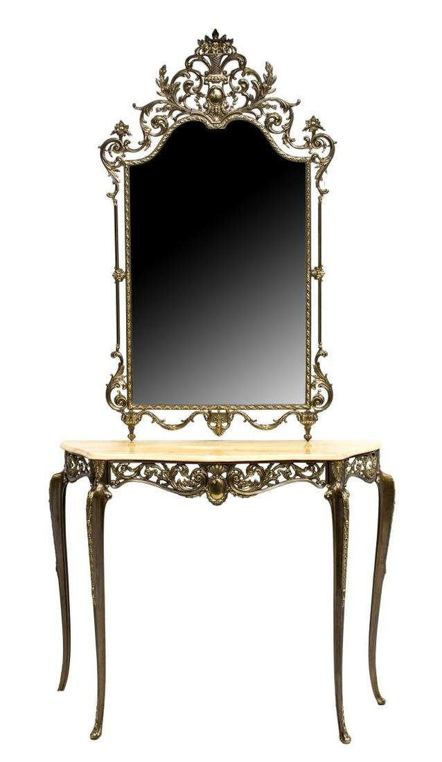 ITALIAN METAL & MARBLE TOP MIRRORED CONSOLE TABLE