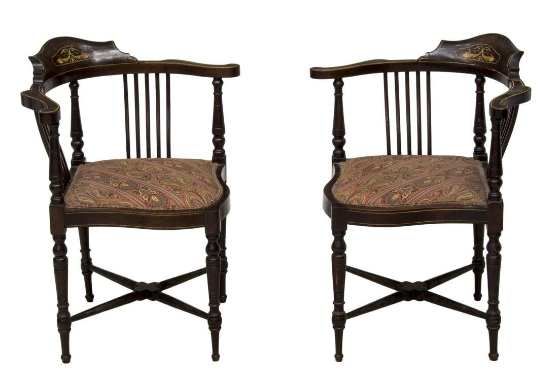 (2)EDWARDIAN MOP DOLPHIN INLAID CORNER CHAIRS