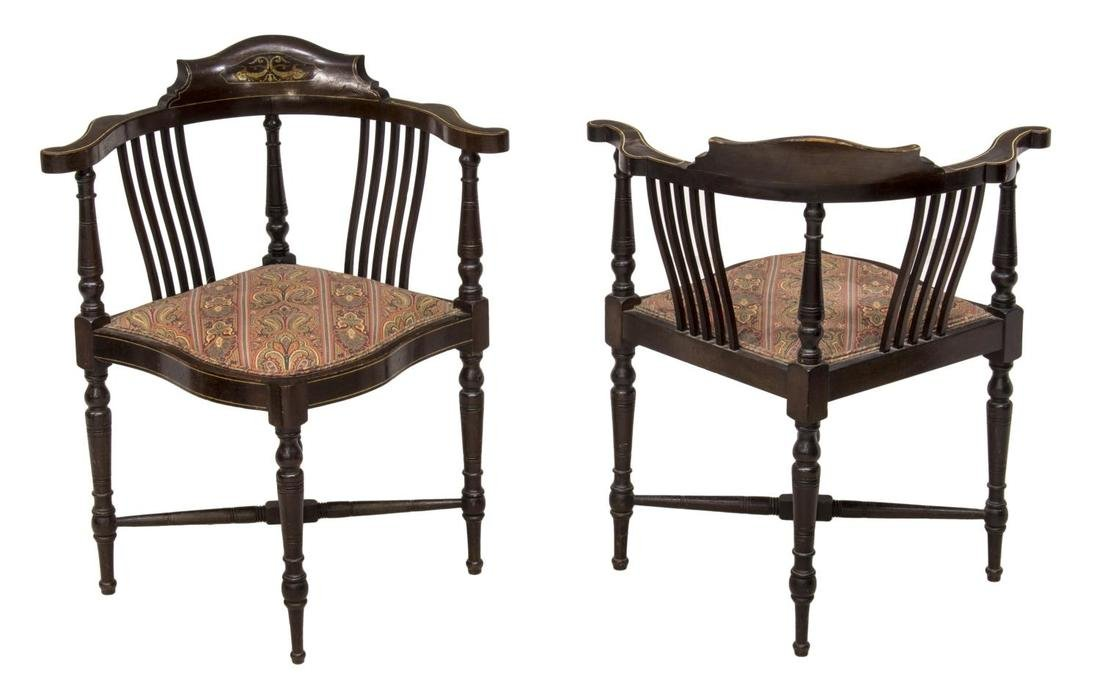 (2)EDWARDIAN MOP DOLPHIN INLAID CORNER CHAIRS - 2