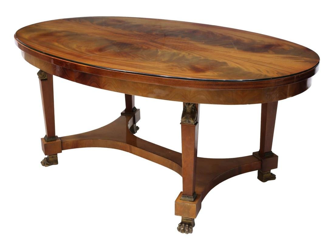 FRENCH EMPIRE STYLE FLAME MAHOGANY DINING TABLE