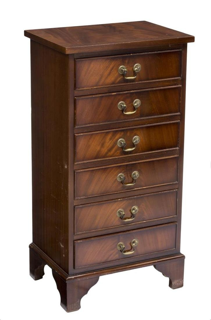 DIMINUTIVE ENGLISH MAHOGANY SIX DRAWER CHEST