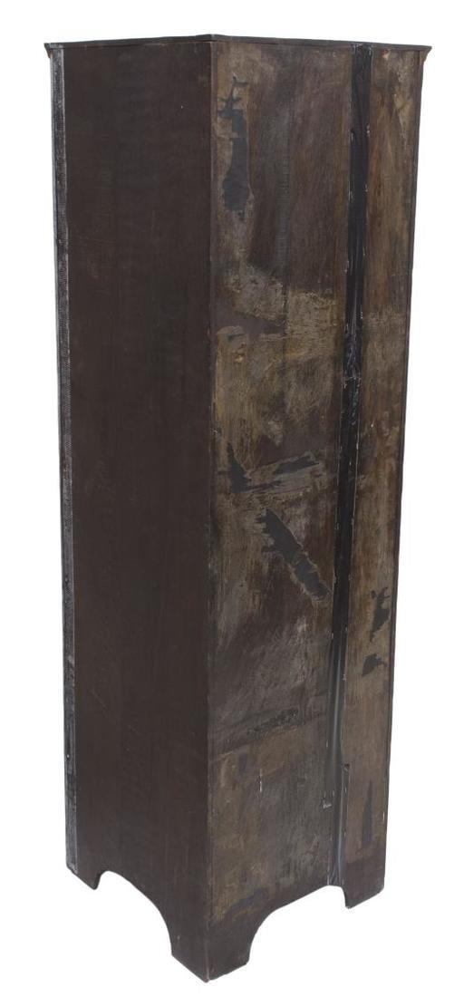 ENGLISH GLAZED CARVED OAK CORNER CABINET - 4