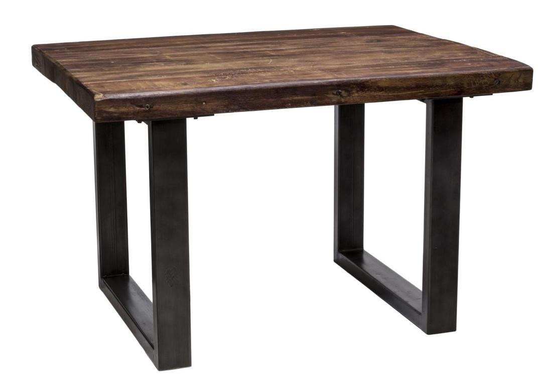 HEAVY COLONIAL TEAKWOOD & IRON KITCHEN TABLE