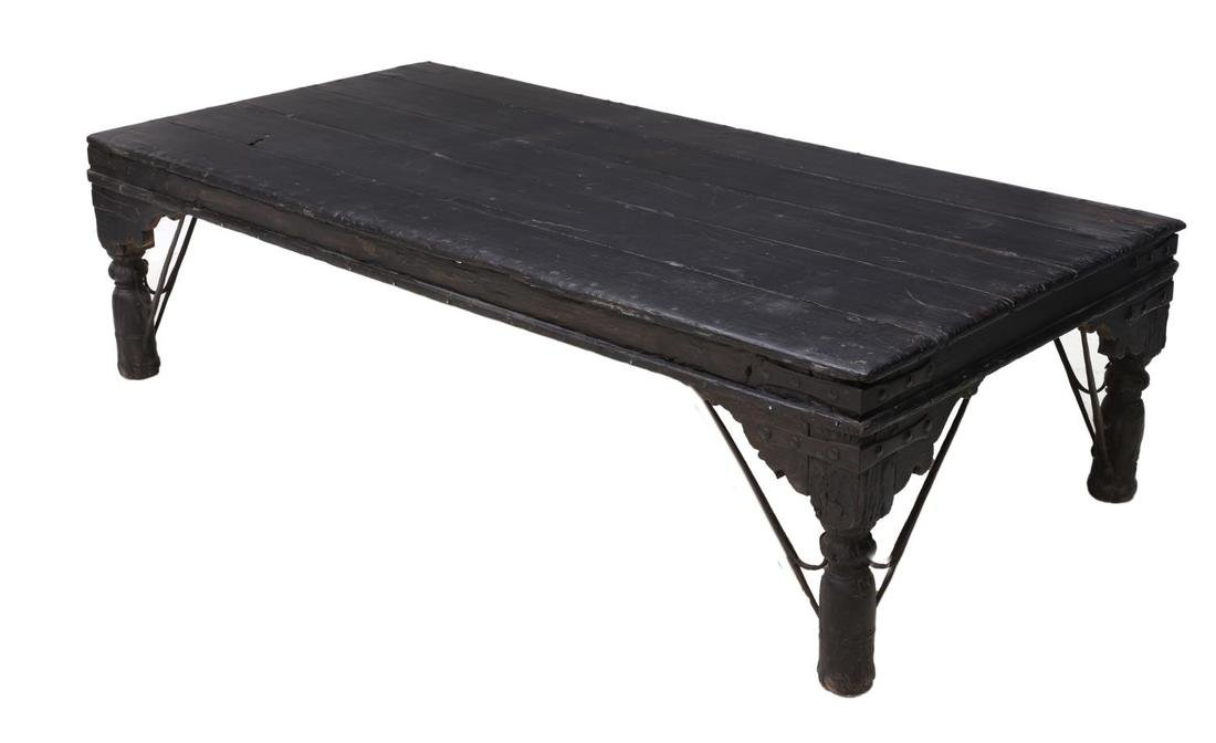 BRITISH COLONIAL CARVED TEAKWOOD COFFEE TABLE