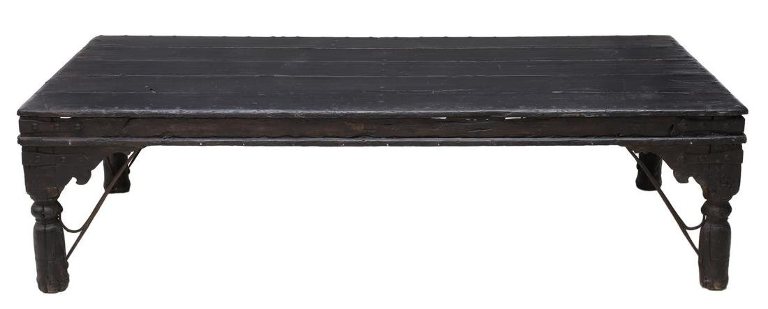 BRITISH COLONIAL CARVED TEAKWOOD COFFEE TABLE - 2