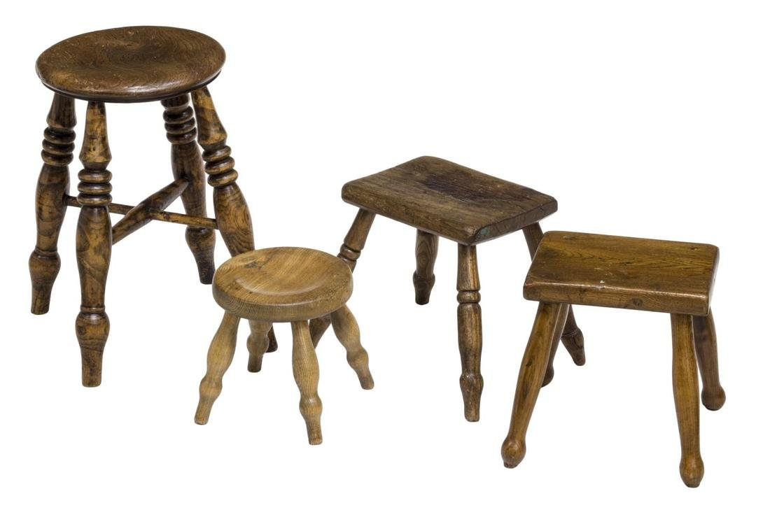 (4) ENGLISH COUNTRY CARVED OAK & ELM STOOLS 19THC