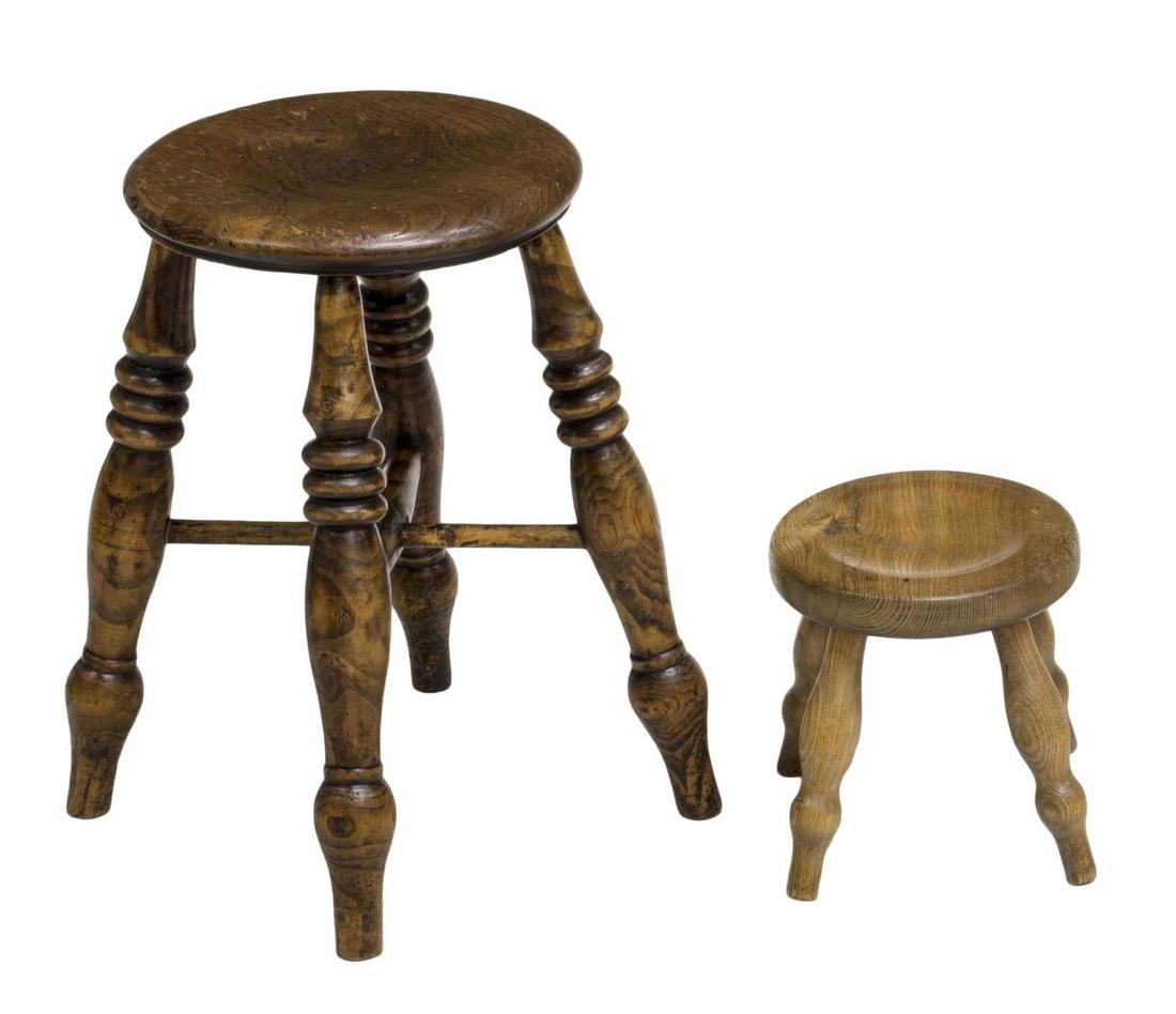 (4) ENGLISH COUNTRY CARVED OAK & ELM STOOLS 19THC - 2