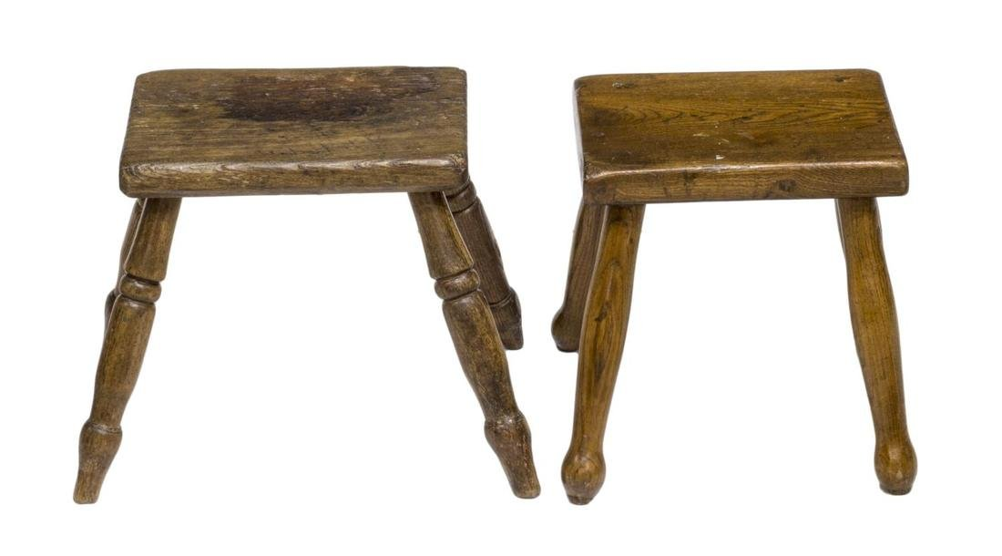 (4) ENGLISH COUNTRY CARVED OAK & ELM STOOLS 19THC - 3