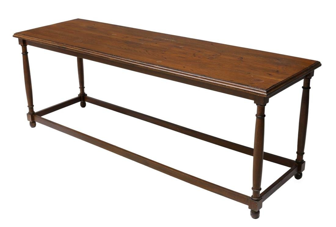 LONG CARVED OAK CONSOLE/SOFA TABLE, 20TH C.