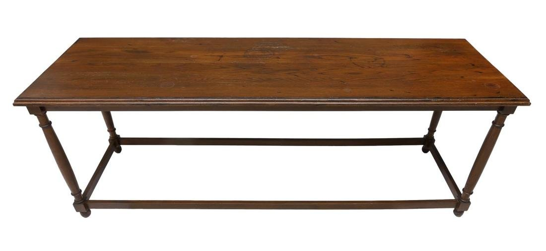 LONG CARVED OAK CONSOLE/SOFA TABLE, 20TH C. - 2