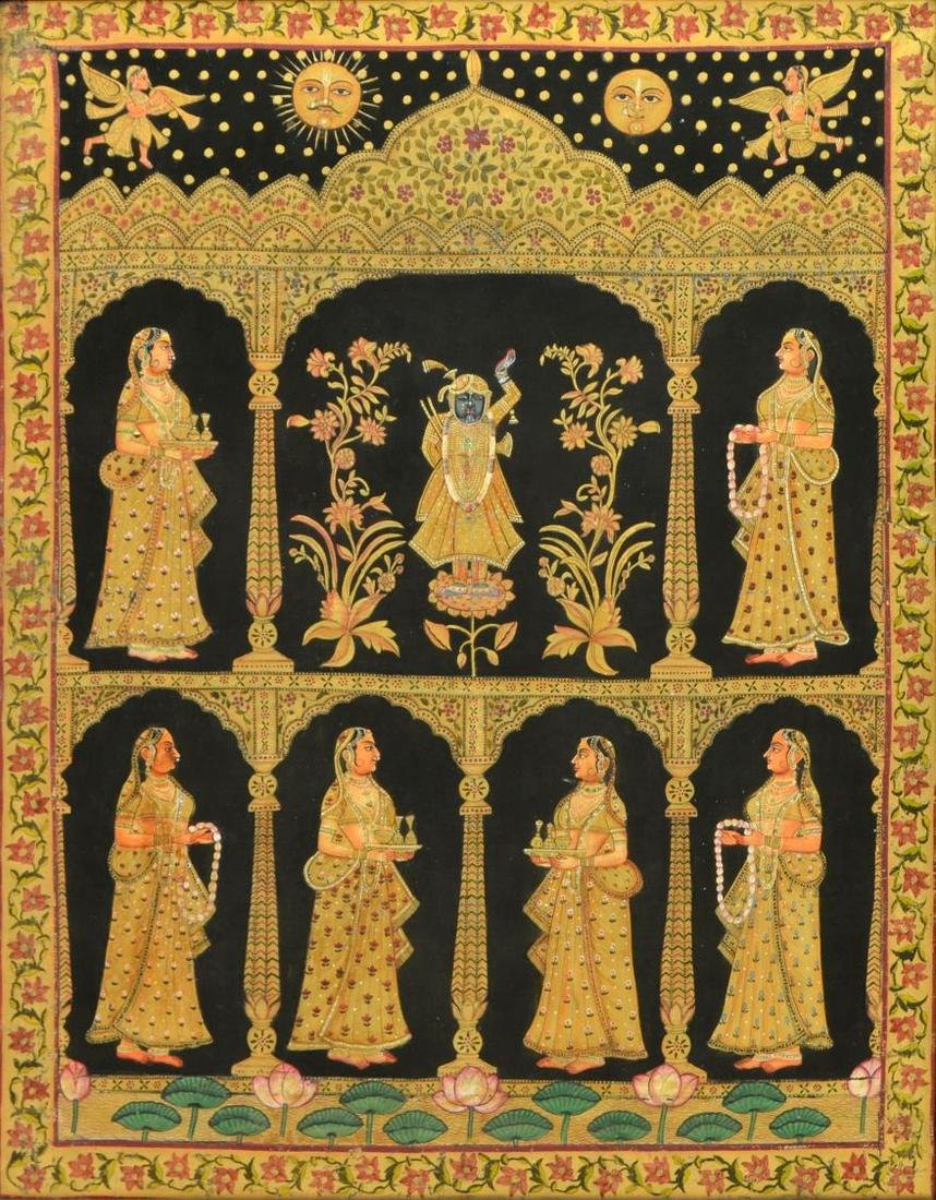 INDIA TEMPLE PAINTING, KRISHNA & ATTENDANT FIGURES
