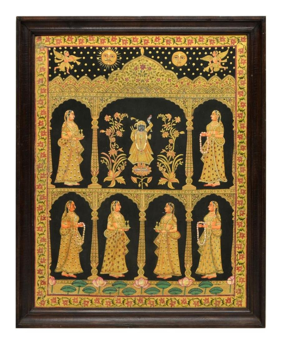 INDIA TEMPLE PAINTING, KRISHNA & ATTENDANT FIGURES - 2
