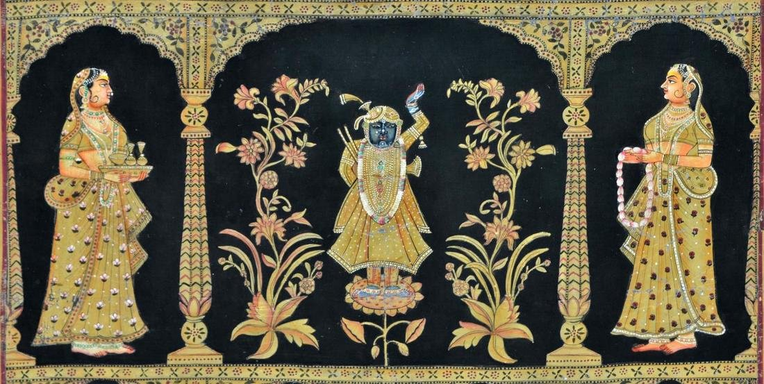 INDIA TEMPLE PAINTING, KRISHNA & ATTENDANT FIGURES - 3