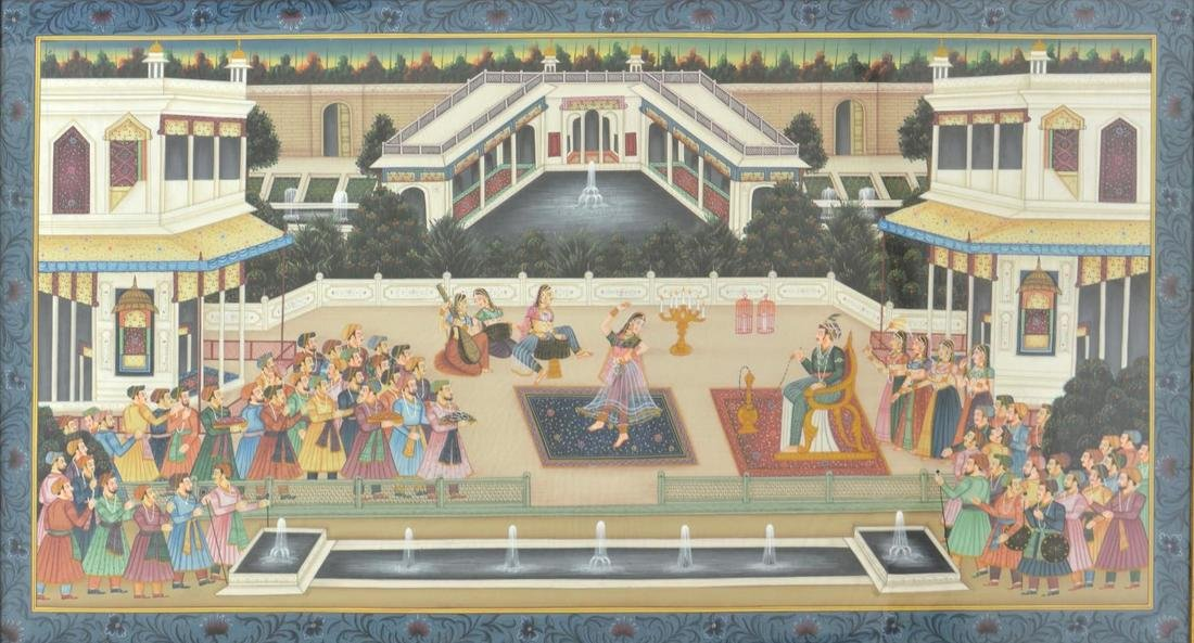 LARGE FRAMED MUGHAL STYLE COURT SCENE PAINTING
