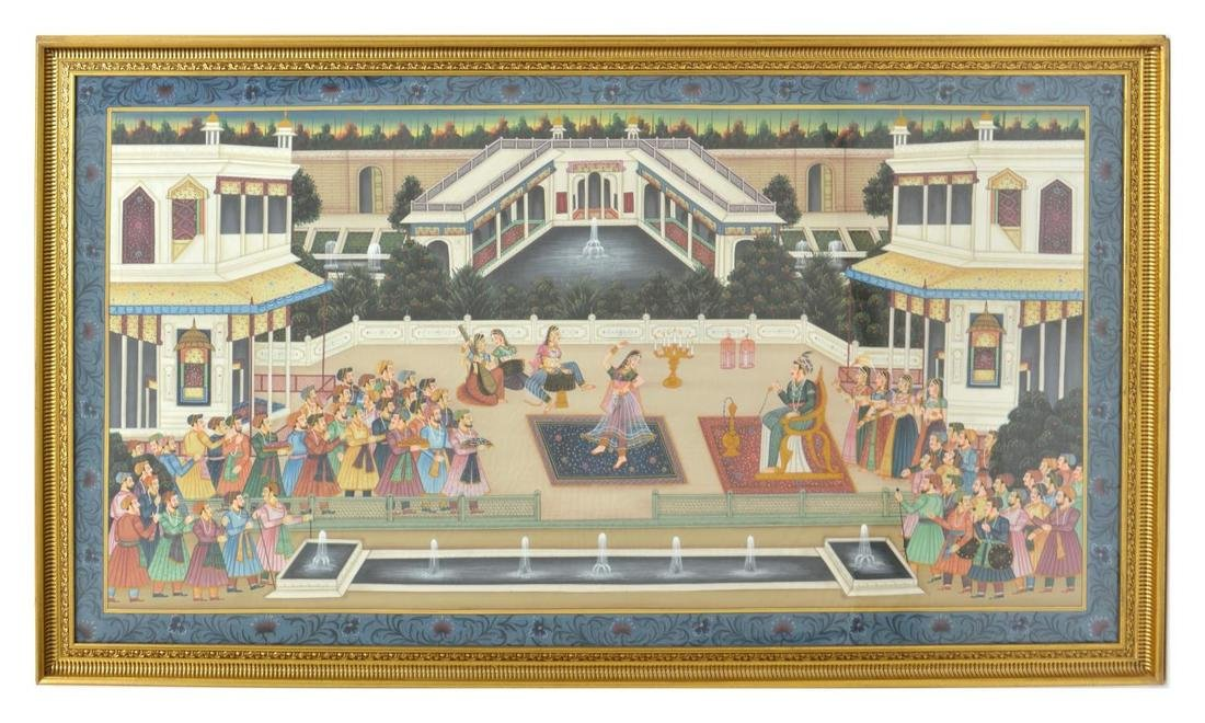 LARGE FRAMED MUGHAL STYLE COURT SCENE PAINTING - 2