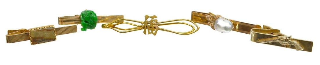 (5) GENTS 14K GOLD & PLATED TIE BARS JADE & PEARL
