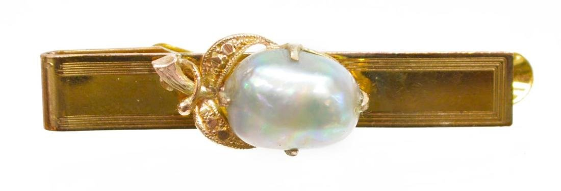 (5) GENTS 14K GOLD & PLATED TIE BARS JADE & PEARL - 3