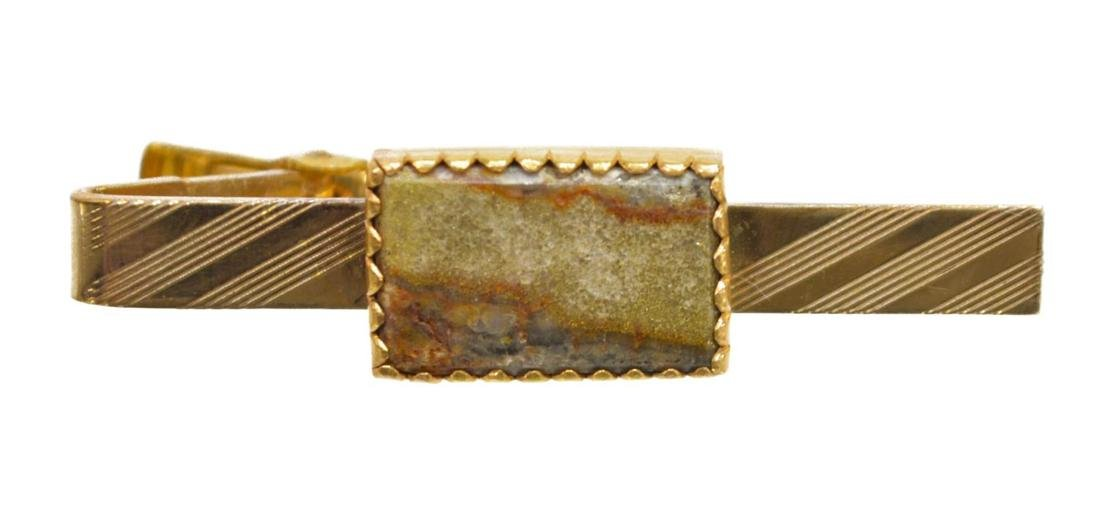 (5) GENTS 14K GOLD & PLATED TIE BARS JADE & PEARL - 5