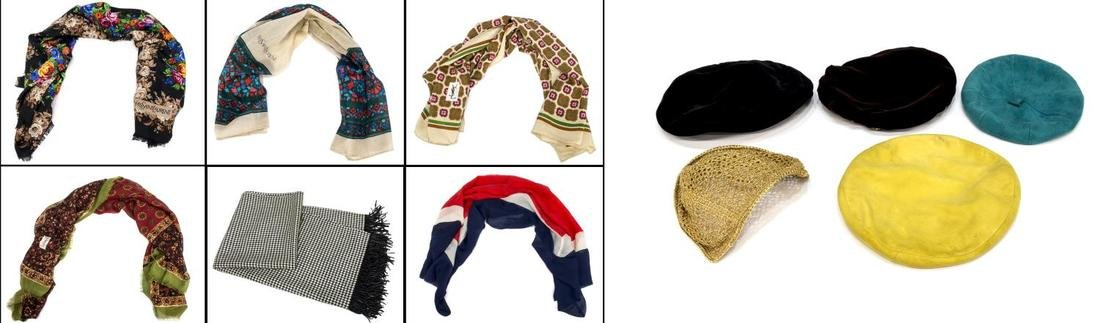(11) GROUP VINTAGE DESIGNER BERET HATS & SCARVES
