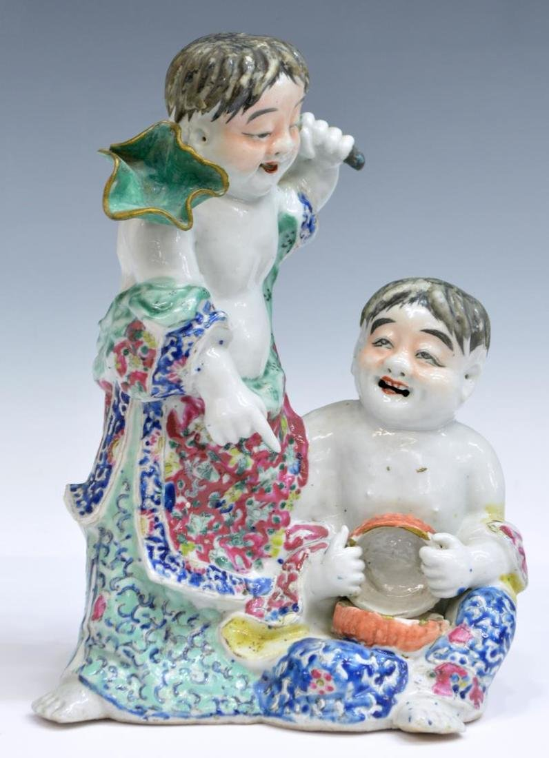 CHINESE FAMILLE ROSE PORCELAIN FIGURAL GROUP