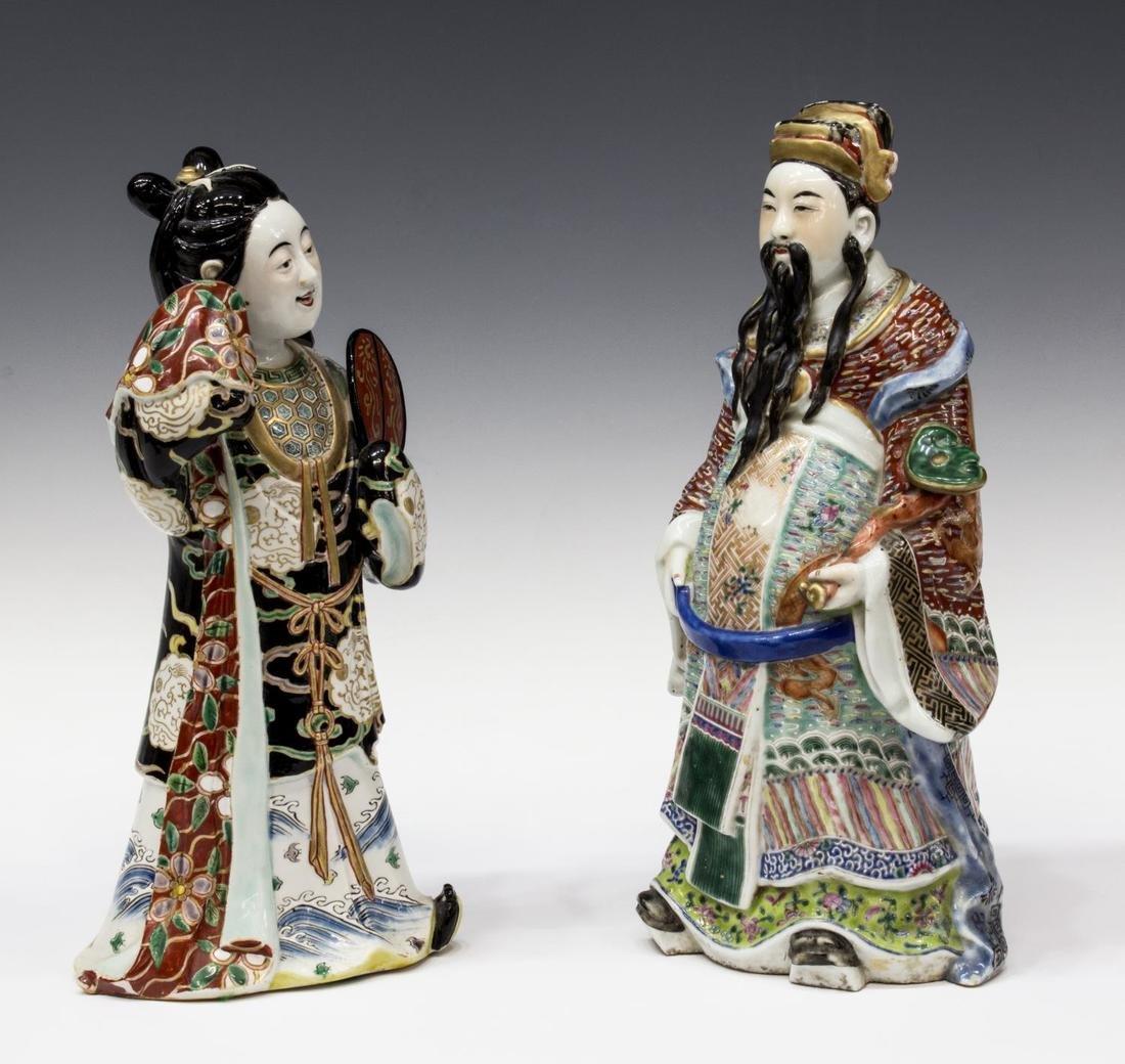(2) CHINESE POLYCHROME GLAZED PORCELAIN FIGURES