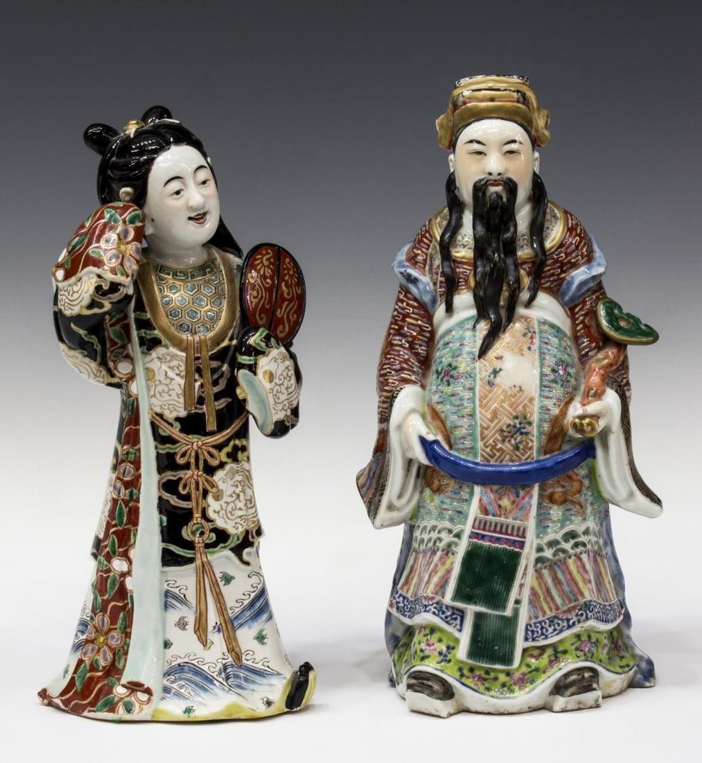 (2) CHINESE POLYCHROME GLAZED PORCELAIN FIGURES - 2
