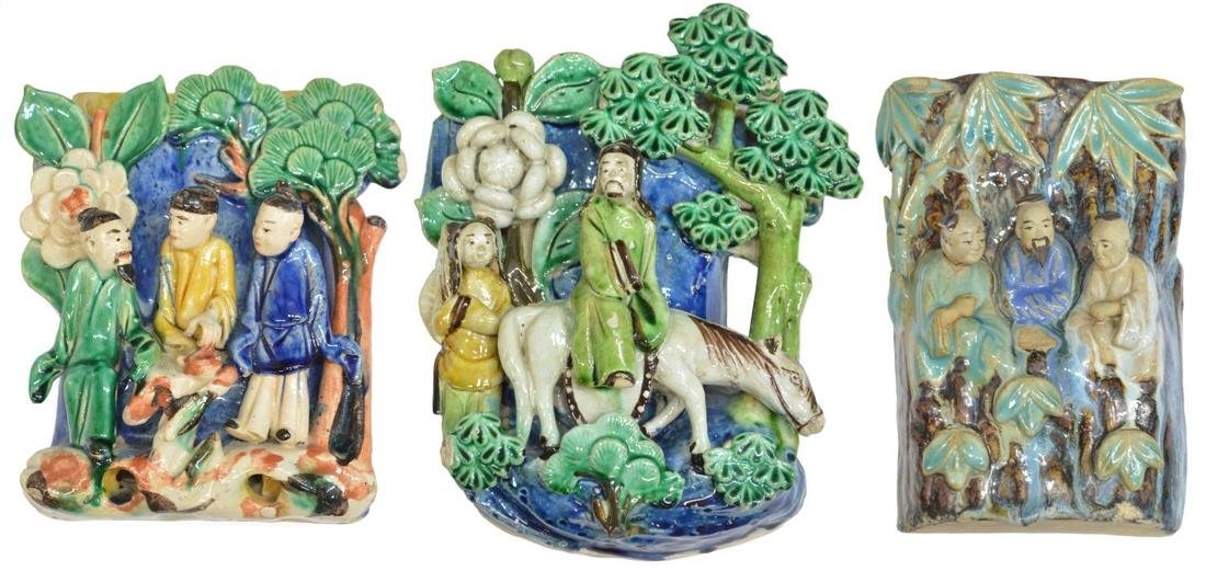 (3) CHINESE GLAZED CERAMIC FIGURAL WALL VASES