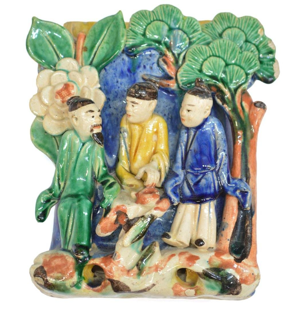 (3) CHINESE GLAZED CERAMIC FIGURAL WALL VASES - 2