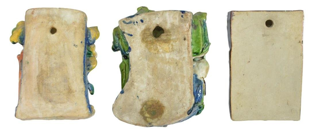 (3) CHINESE GLAZED CERAMIC FIGURAL WALL VASES - 5