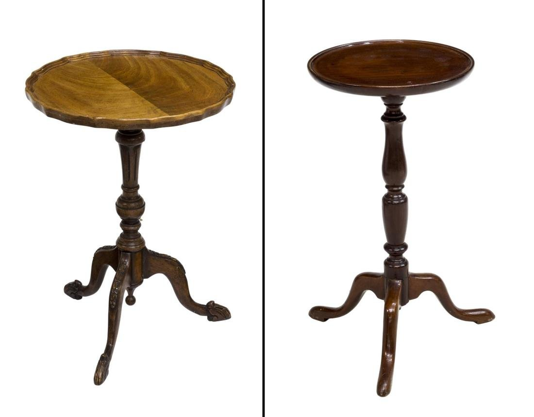 (2) ENGLISH MAHOGANY PEDESTAL SIDE TABLES