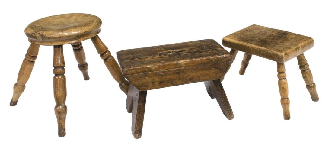 (3) ENGLISH COUNTRY ELM & PINE STOOLS, LATE 19TH C